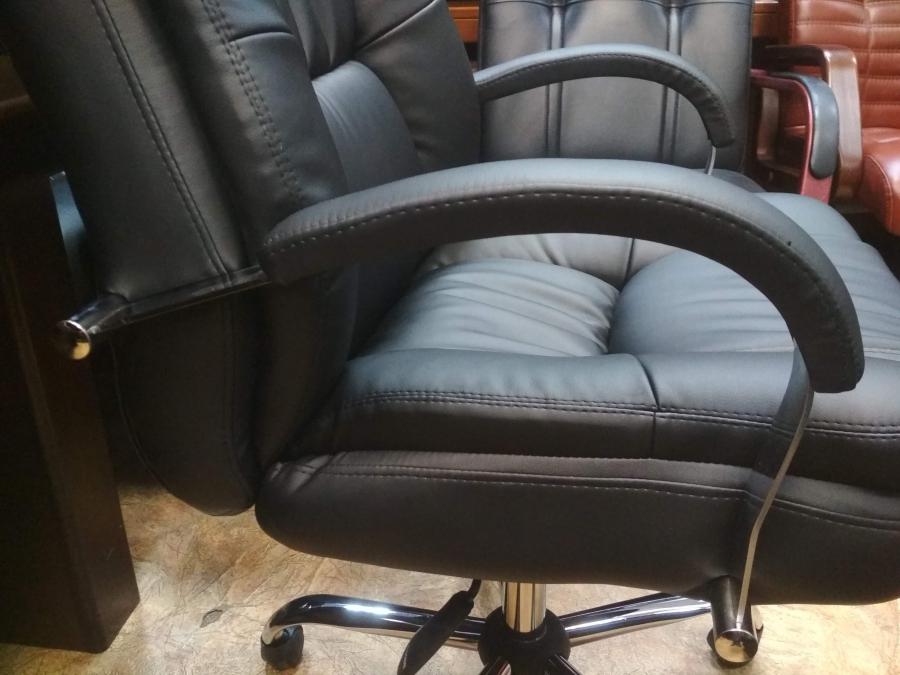 Кресло руководителя АВАКАДО Хром МТГ (экокожа черный) НОВОЕ!