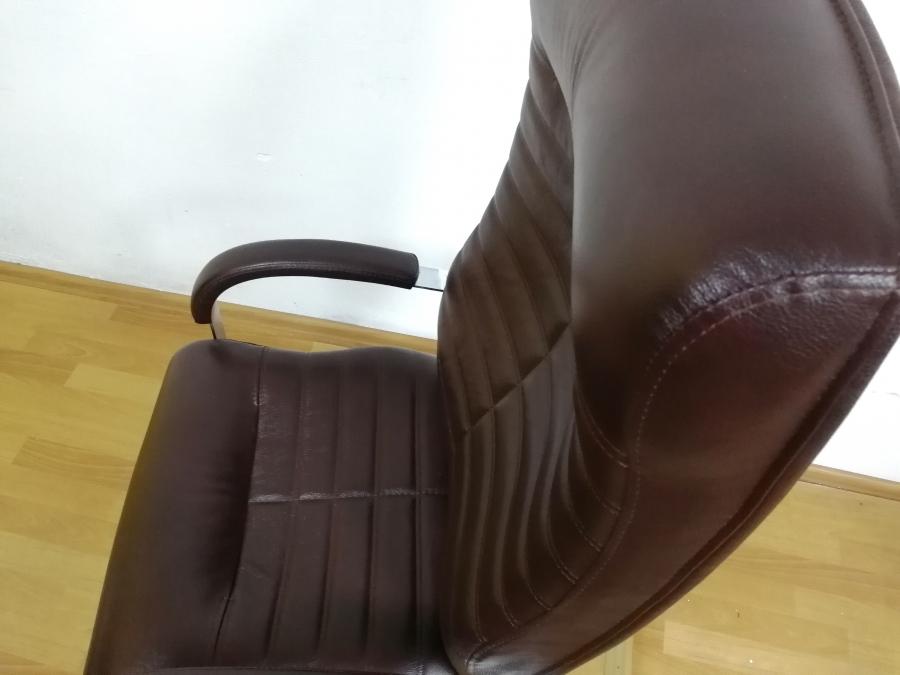 Кресло руководителя ОРИОН Хром МТГ (кожа вишня). НОВОЕ!